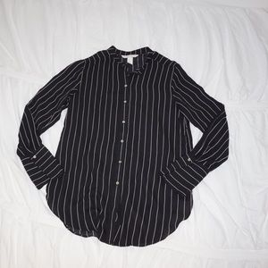 Stripped Sheer Button Down